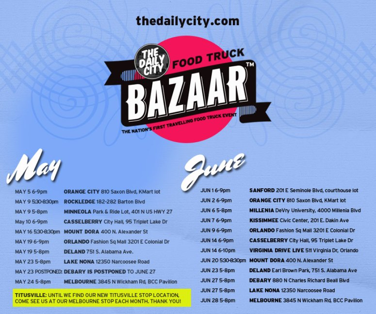 Food Truck Bazaar May/June Schedule